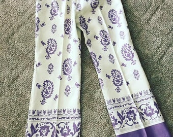 Crazy and Cool 1960's Purple and Cream Paisley Print Cropped Flairs -- Size M
