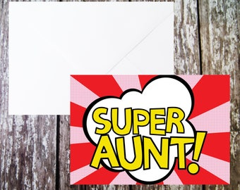 Super Aunt Card, Pop Art Design, Aunty Birthday, Gift For Her, Card For Her, Best Auntie, Superhero Aunt, Aunty Greetings Card, From Kids