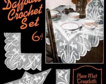 Bestway #351 c.1925  Vintage Instructions for Daffodil Pattern Filet Crochet Lace Patterns