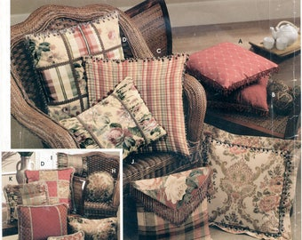 Assorted Pillows Sewing Pattern Simplicity 0706 UNCUT, Casual Throw Beaded Fringed Patchwork Corded Tasseled, Decorator Home Cottage Decor