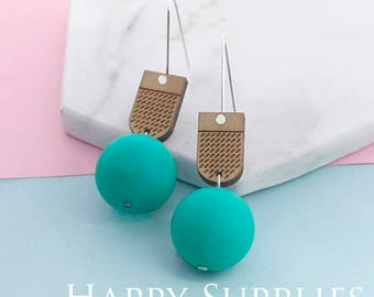 1 Pair (SBW31A) Silicone Balls Laser Cut Geometric Wooden Dangle Earrings - HEW Series - Ocean Sea Summer Beach