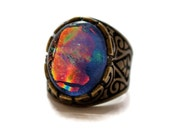 Dichroic Glass Ring, Fused Glass Ring, Adjustable Ring, Blue Ring, Adjustable Bronze Ring