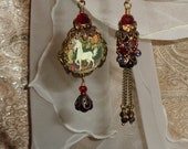 Tapestry unicorn pictorial relic vintage beaded bead style asymmetrical earrings by Pamelia Designs
