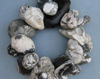 Gray Black and White Rock Wreath or Candle Ring–RW361