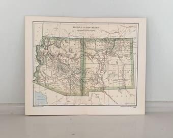 Vintage Arizona Map Etsy - Arizona maps