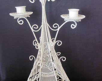 WHITE METAL MESH Tall Three Prong Candleholder