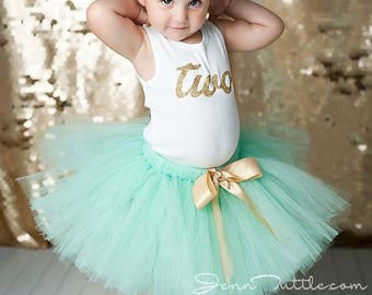 Mint and Gold 2nd Birthday Dress   Tutu Outfit for Baby Girls   Second Birthday Dress