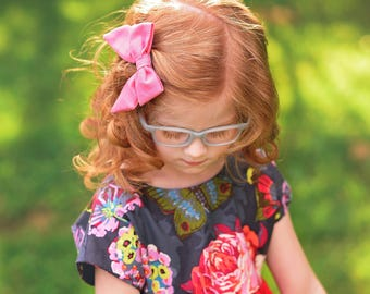 Petite Peanut Bitty Bow Headband - Solid Pink - Baby Girl Toddler - (Made to Order)