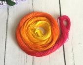 Hand Dyed Thread - Size 80 - Tatting Thread - Cotton Thread - Yellow , Orange , Magenta  - Sunset - 50 Yards