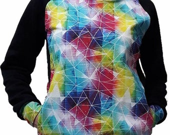 Hoody black and multicolor graphic facet