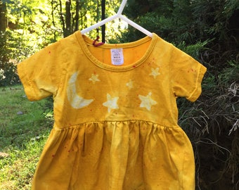 Yellow Baby Dress, Star Baby Dress, Celestial Baby Dress, Stars and Moon Baby Dress, Yellow Star Dress, Baby Shower Gift (18 months) SALE