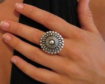 Ornamented Silver Ring, Silver Ring, Gypsy Ring, Tribal Ring, Boho Ring, Tribal Jewelry, Gypsy Jewelry, Yoga