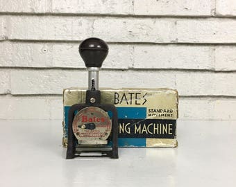 Vintage Bates Standard Movement Numbering Machine // Mid Century Office Props // Retro Office Style