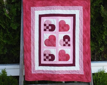 Quilted Wall Hanging, Wall Quilt, Wall Art, Handmade Quilt, Wall Decor, Hearts Hanging
