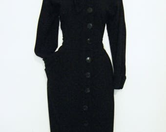 late 1940's FILM NOIR KNOCKOUT dress and fascinator hat, size s