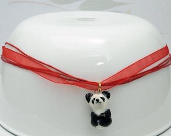 porcelain hand crafted panda figurine charm or pendant w free organza necklace Anita Reay ceramic pandabear totem art