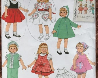 "Simplicity 16"" & 18"" Doll Clothes Pattern # 2454 - Reissue of 1960's - Dresses, Slip, Bloomers, Pajamas, Coat and MORE"
