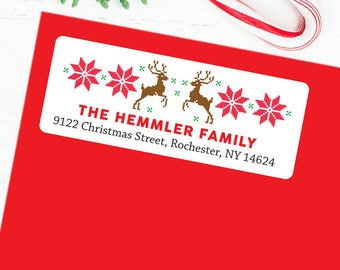 Christmas Address Labels - Christmas Sweater - Sheet of 30