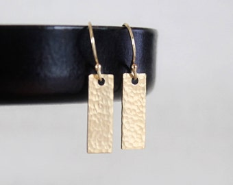 Tiny Gold Fill Bar Earrings, Tiny Bar Earrings, Small Rectangles, Hammered or Smooth Geometric Minimalist Earrings