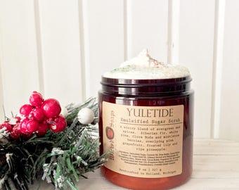 Yuletide Emulsified Sugar Scrub - Whipped Sugar Scrub, Body Polish, Holiday, Christmas, Stocking Stuffer, Teacher Gift, Gift Exchange