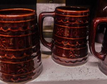 Marcrest Set of four Large Mugs Brownware Mugs Vintage Pottery Mugs