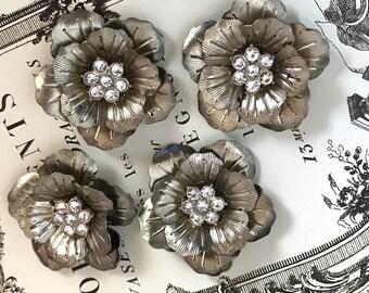 Vintage Rhinestone flower Connectors, Victorian Flower pendants, Rhinestone Flowers, Shabby chic connectors, Flower Connectors #1482A