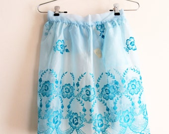 Vintage Half Apron Sheer Flocked Fabric Blue with Scalloped Edge