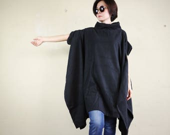 Oversize Chic Modern Casual Short Sleeve Black Brushed Cotton Mix Polyester Cocoon Cape Cloak Poncho Women Outerwear P317