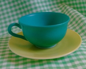 Hazel Atlas Ovide Mismatched Glass Cup and Saucer, Turquoise Blue Green and Yellow Vintage Modern