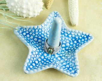 Turquoise Starfish ring holder, Ceramic Ring dish handmade pottery Beach wedding favor Decor engagement gift for her under 25