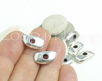 Silver cornflake disc washer Mykonos Greek Cast Metal Washers, Ø3 Spacer Beads, Flat pebble Shiny high quality European bead 9 x 16 mm 4 pcs