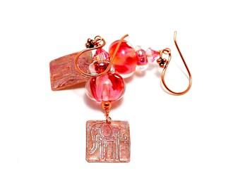 Small Lampwork Bead Earrings. Artisan Metal Clay Elephant Charms. Small Dangle Earrings. Light Rose Ethnic Earrings. Glass Bead Jewelry.