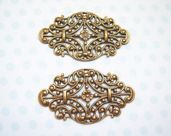 2 -Antiqued brass Victorian styled filigree stampings -JY154