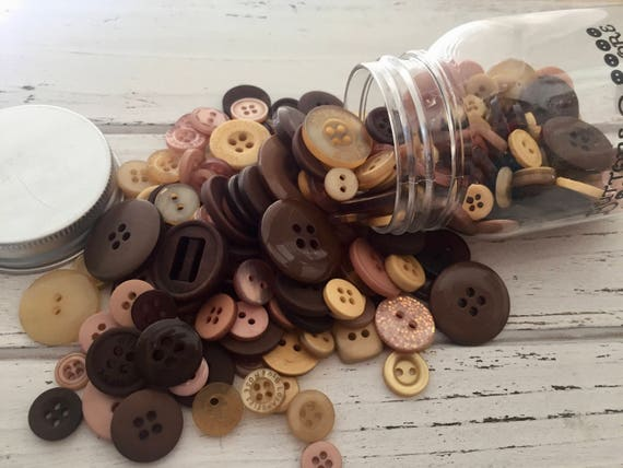 "Hand Dyed Buttons, ""Warm Cocoa"", Mixed Buttons, 200 Buttons, Plastic Mini Mason Jar by Buttons Galore, 2 & 4 Hole Assortment"