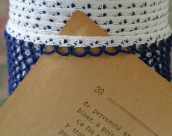Pre-War Delicate Scalloped Edging Trim in Cobalt Blue and White 8mm - 10 Yard Roll - New Old Stock
