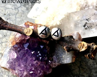 Thurisaz (Thorn) Rune Post Earrings - Sterling Silver - Post - Runic - Boho - Bohemian - Witch - Runestone - Thor
