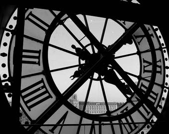 Fine Art Photography D'Orsay, Paris clock time, black and white, 8x10, 8x12