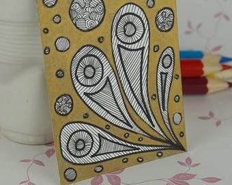 Metallic Gold Alien Life ACEO Art Card Mini Artwork Trading Card