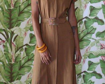 1940s Dress / Deadstock Dress / Forties Daywear / War Era / Linen Dress Hobbies of Dallas / Gatsby Dress / Light Brown Dress
