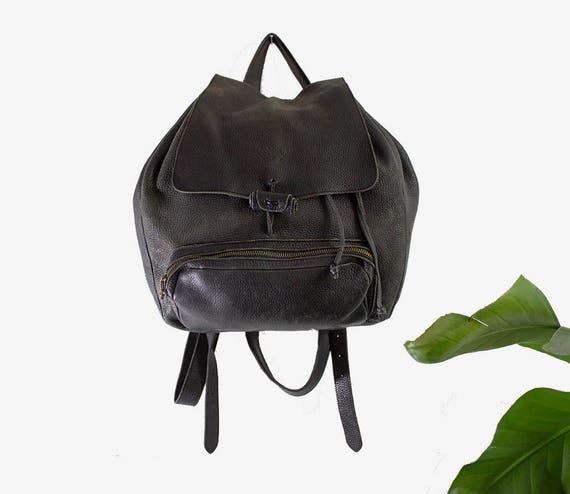 Vintage Leather Backpack / Black Leather Backpack / Drawstring Backpack / Leather Rucksack