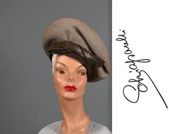 1960s SCHIAPARELLI wool felt beret • vintage 60s hat • designer felt hat