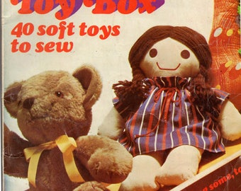 Vintage Golden Hands TOY BOX 70s Sewing Patterns Book Dolls Cats Dogs Animals Puppets Teepee Pattern Drafting Booklet 40 Soft Toys To Sew