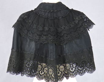 Antique Victorian Edwardian Cape, 1900s Black Silk and Lace Capelet, Silk Soutache Embroidered Ornamental Lace Short Cape, Steampunk