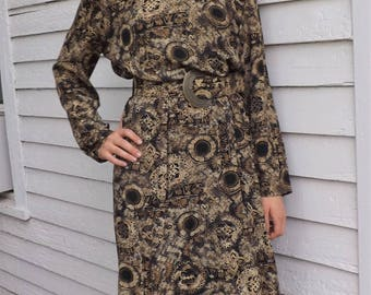 Retro 80s Print Dress Button Back Rayon Beige Black Vintage XL