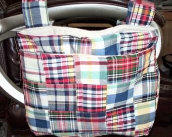 Plaid Quilted Walker Bag or Wheelchair Bag,Velcro Straps,Walker Bag,,Three Pockets,Small,Medium or Large,Bike Bag,Desk Chair Over Armrest