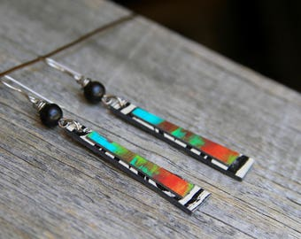 ANALOG RAINBOW / Wood Earrings / Women's Jewelry / Gifts For Her / Sustainable / Earrings / Acrylic Painting / Art / Art Jewelry