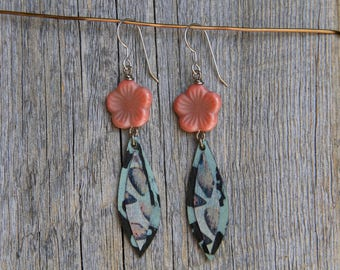 ROCKY BLOOMS / Wood Earrings / Women's Jewelry / Gifts For Her / Sustainable / Earrings / Acrylic Painting / Art / Art Jewelry