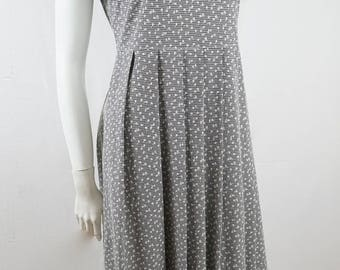 Vintage 90s Katies Floral Black and White Checkered Summer Button Bust Dress Skater Style Pleated Dress Made in Australia