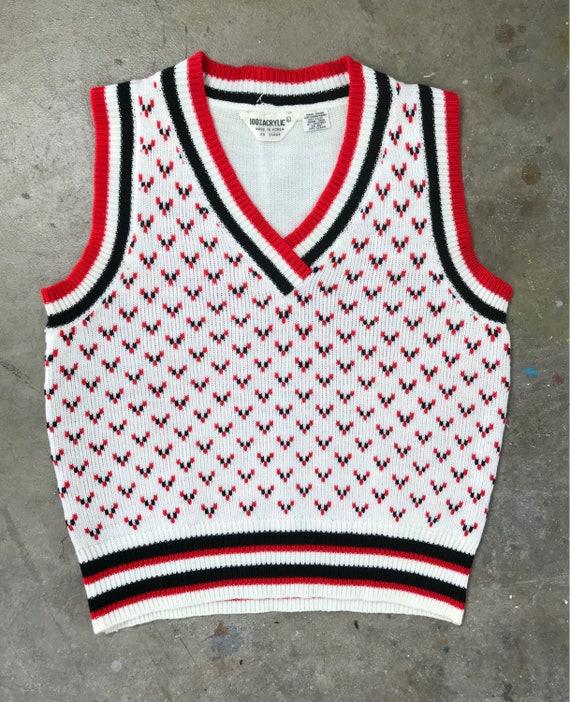 60s Red Black and White Sweater Vest