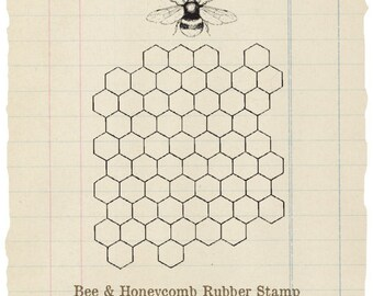 Bee & Honeycomb Unmounted rubber stamp